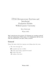 CP316 Microprocessor Sysytems and Interfacing Evaluation Results Wilfrid Laurier University