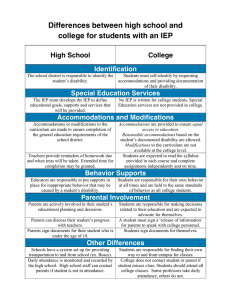 Differences between high school and college for students with an IEP College