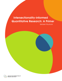 Intersectionality-informed Quantitative Research: A Primer Setareh Rouhani