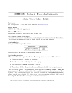 MATH 106X – Section A – Discovering Mathematics Outline – Fall 2015