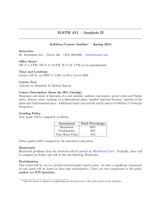 MATH 415 – Analysis II Outline – Spring 2015