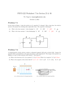 PHYS-222 Worksheet 7 for Section 25 & 36 Problem 7-1