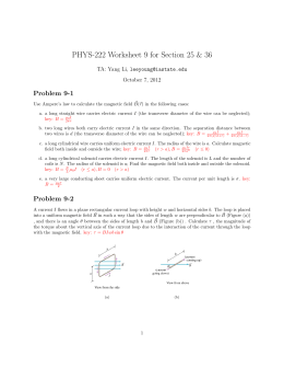 PHYS-222 Worksheet 9 for Section 25 & 36 Problem 9-1