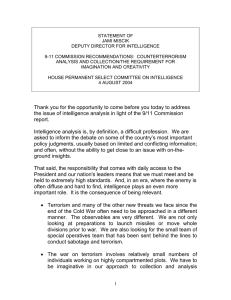 STATEMENT OF JAMI MISCIK DEPUTY DIRECTOR FOR INTELLIGENCE