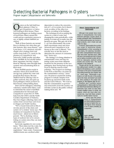 Detecting Bacterial Pathogens in Oysters Program targets by Susan McGinley