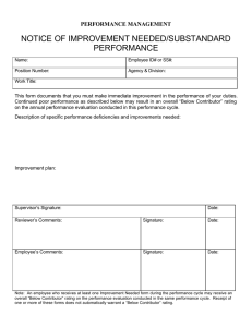 NOTICE OF IMPROVEMENT NEEDED/SUBSTANDARD PERFORMANCE PERFORMANCE MANAGEMENT