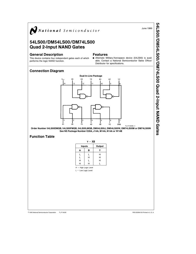 54ls00 Dm54ls00 Dm74ls00 Quad 2 Input Nand Gates General Description Gate Diagram Features