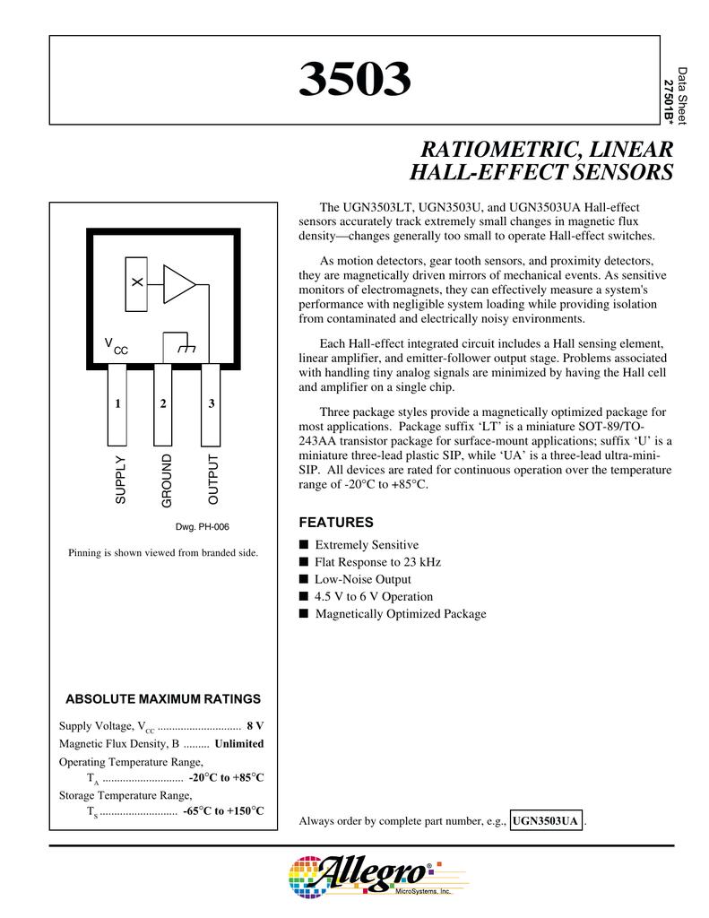 3503 Ratiometric Linear Hall Effect Sensors Circuits