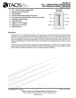 TSL3301−LF 102 × 1 LINEAR OPTICAL SENSOR ARRAY WITH ANALOG-TO-DIGITAL CONVERTER D