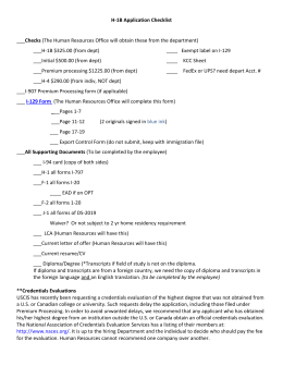 H-1B Application Checklist  Checks ___H-1B $325.00 (from dept)