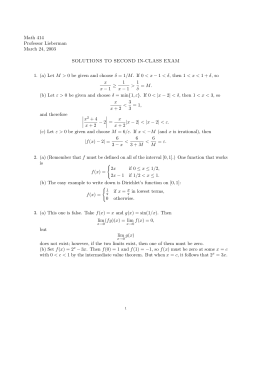 Math 414 Professor Lieberman March 24, 2003 SOLUTIONS TO SECOND IN-CLASS EXAM