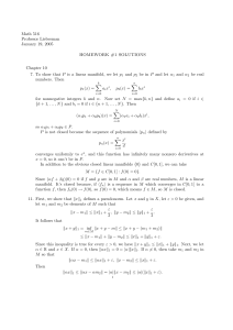 Math 516 Professor Lieberman January 19, 2005 HOMEWORK #1 SOLUTIONS
