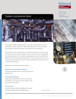 trAining–leAn MAnuFActuring