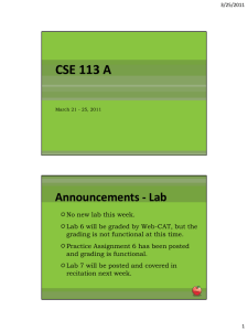 CSE 113 A Announcements - Lab