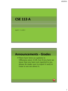 CSE 113 A Announcements - Grades