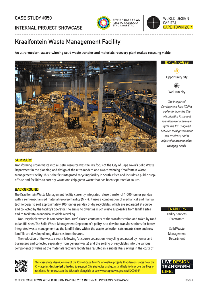 Kraaifontein Waste Management Facility CASE STUDY #050 INTERNAL