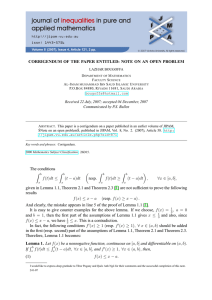 CORRIGENDUM OF THE PAPER ENTITLED: NOTE ON AN OPEN PROBLEM