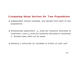 Comparing Mean Vectors for Two Populations