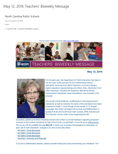 May 12, 2016 Teachers' Biweekly Message North Carolina Public Schools
