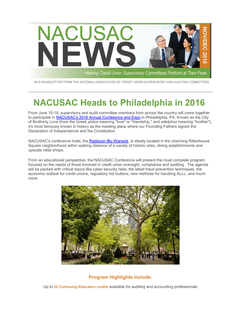 NACUSAC Heads to Philadelphia in 2016