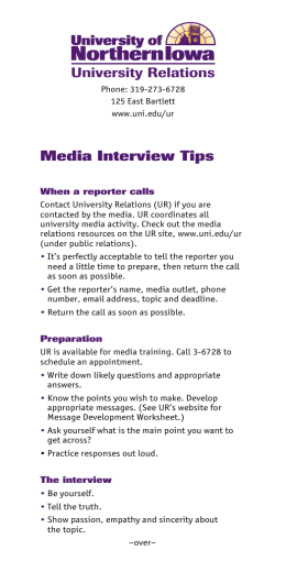Media Interview Tips University Relations
