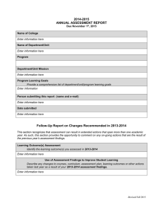 2014-2015 ANNUAL ASSESSMENT REPORT