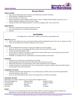 sample video resume