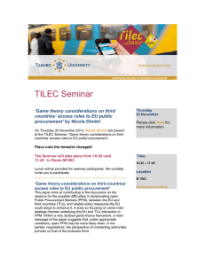 TILEC Seminar 'Game theory considerations on third procurement'
