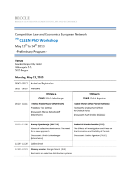 CLEEN PhD Workshop  Competition Law and Economics European Network May 13