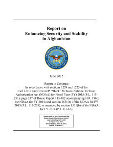 Report on Enhancing Security and Stability in Afghanistan