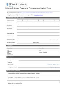 Science Industry Placement Program Application Form