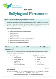 What constitutes bullying and harassment?