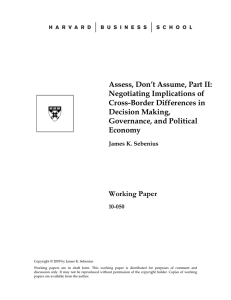Assess, Don't Assume, Part II: Negotiating Implications of Cross-Border Differences in Decision Making,