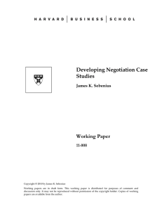 Developing Negotiation Case Studies Working Paper