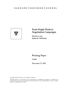 From Single Deals to Negotiation Campaigns Working Paper 12-046
