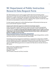 NC Department of Public Instruction Research Data Request Form