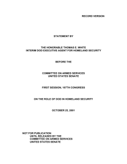 RECORD VERSION  STATEMENT BY THE HONORABLE THOMAS E. WHITE