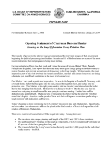 Opening Statement of Chairman Duncan Hunter