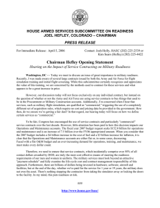HOUSE ARMED SERVICES SUBCOMMITTEE ON READINESS JOEL HEFLEY, COLORADO – CHAIRMAN