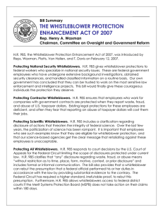 THE WHISTLEBLOWER PROTECTION ENHANCEMENT ACT OF 2007  Bill Summary