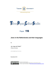 Paper Jews in the Netherlands and their languages Jan Jaap de Ruiter