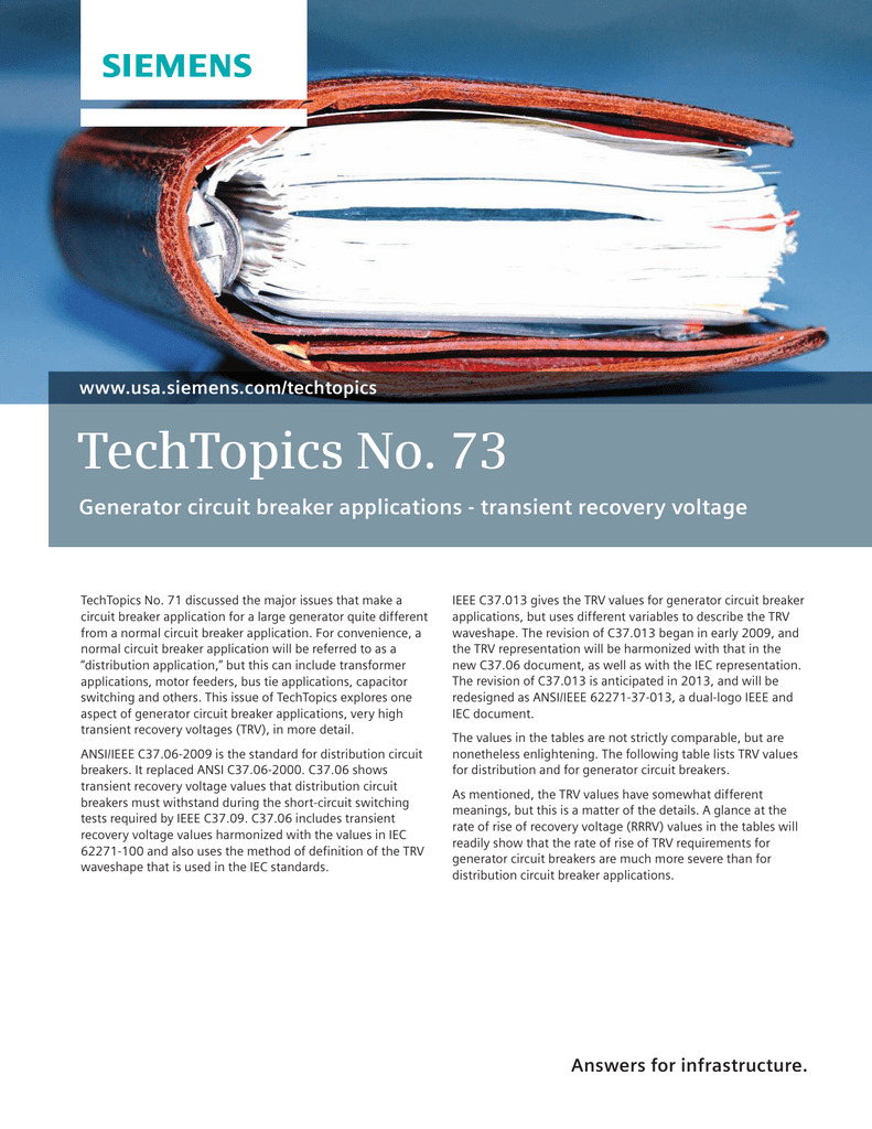 TechTopics No. 73 Generator circuit breaker applications - transient ...