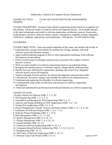 Mathematics, Statistics & Computer Science Department  COURSE NO./TITLE: CS-458 ADVANCED SOFTWARE ENGINEERING