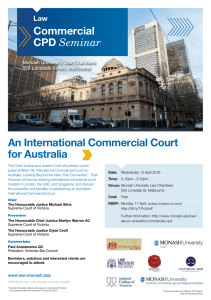 An International Commercial Court for Australia Commercial CPD