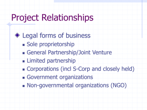 Project Relationships Legal forms of business