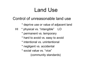 Land Use Control of unreasonable land use
