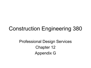 Construction Engineering 380 Professional Design Services Chapter 12 Appendix G