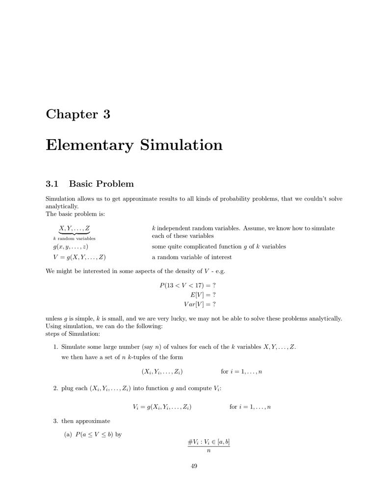 Elementary Simulation Chapter 3 3 1 Basic Problem