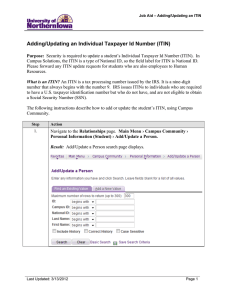 Adding/Updating an Individual Taxpayer Id Number (ITIN)