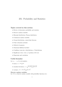 2S1: Probability and Statistics Topics covered in this section:
